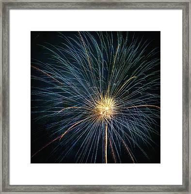Firework Celebration Blue And Gold Square Framed Print by Terry DeLuco