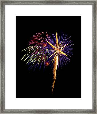 Framed Print featuring the photograph Fireworks 8 by Bill Barber
