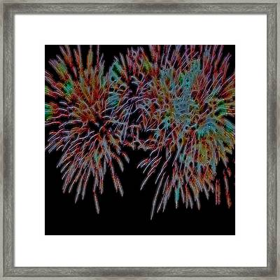 Fireworks Abstract Framed Print by Cathy Anderson