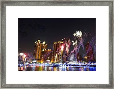 Fireworks Along The Love River In Taiwan Framed Print by Yali Shi