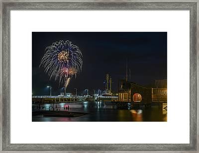 Fireworks And 17th Street Docks Framed Print