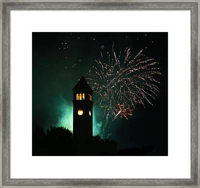 Fireworks And Clock Tower Framed Print