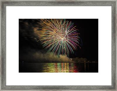 Fireworks And Reflection In Water Framed Print