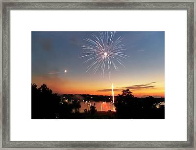 Fireworks And Sunset Framed Print