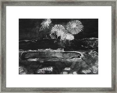 Fireworks At Eagle Nest Lake...0oohh..aahh.. Framed Print by Laurie Hill Phelps
