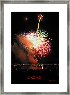 Fireworks At Lake Okoboji Framed Print by Gary Gunderson