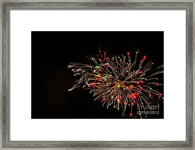 Fireworks At Niagara Falls Framed Print by Claudia M Photography