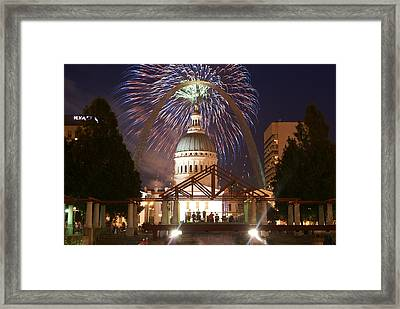 Fireworks At The Arch 1 Framed Print by Marty Koch