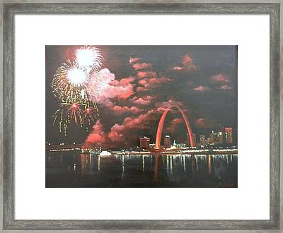 Fireworks At The Arch Framed Print