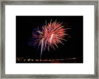 fireworks at the Hampton Beach Framed Print by Laura Catherine