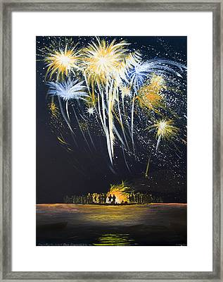 Fireworks Bonfire On The West Bar Framed Print by Charles Harden