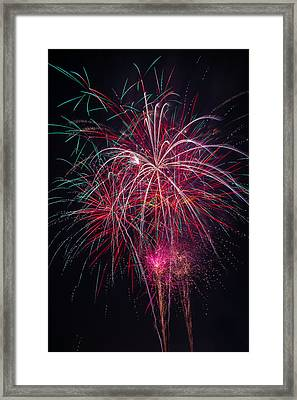 Fireworks Bursting In Night Sky Framed Print by Garry Gay