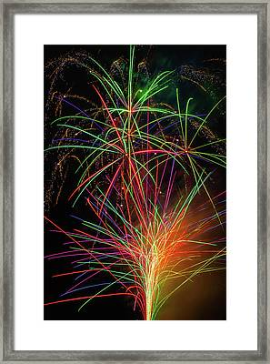 Fireworks Bursting In Sky Framed Print