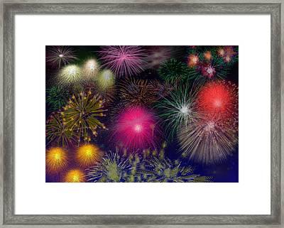 Fireworks Framed Print by Carol Tsiatsios