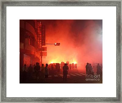 Fireworks During A Temple Procession Framed Print by Yali Shi