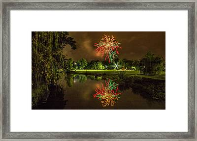 Fireworks During Fair St Louis In Forest Park Framed Print by Garry McMichael