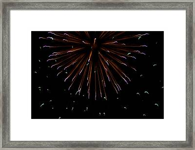 Fireworks Explode In The Air In Kansas Framed Print by Joel Sartore