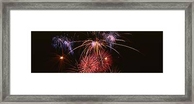 Fireworks Exploding Against Night Sky Framed Print