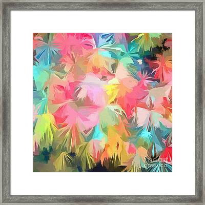 Fireworks Floral Abstract Square Framed Print by Edward Fielding