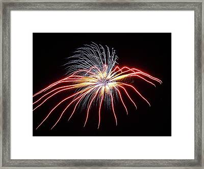 Fireworks From A Boat - 11 Framed Print