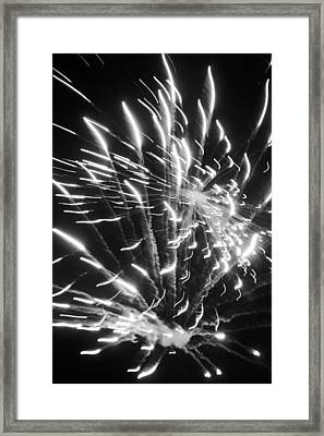 Fireworks In Black And White 2 Framed Print by Kelly Hazel