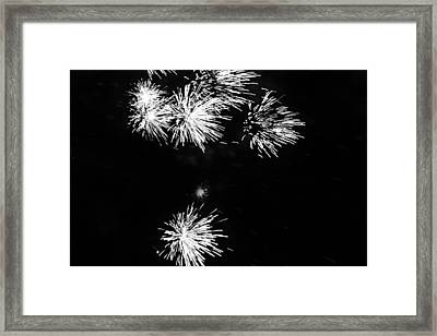 Fireworks In Black And White 3 Framed Print by Kelly Hazel