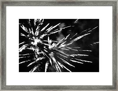 Fireworks In Black And White 4 Framed Print by Kelly Hazel