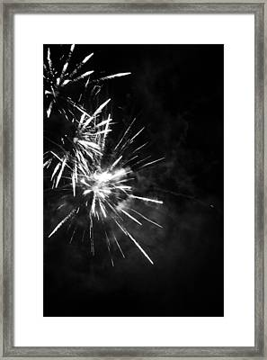 Fireworks In Black And White 5 Framed Print by Kelly Hazel