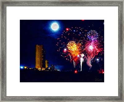 Fireworks In The Moonlight Framed Print