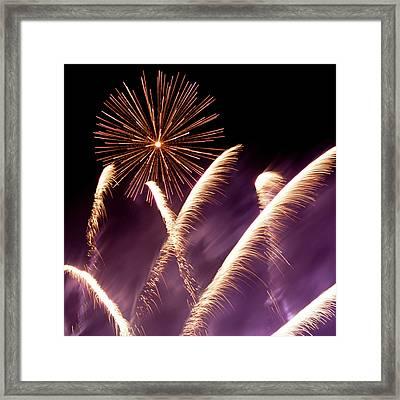 Fireworks In The Night Framed Print