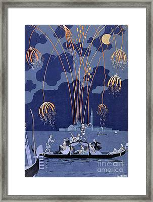 Fireworks In Venice Framed Print by Georges Barbier