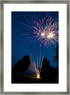 Fireworks Launching And Exploding Framed Print