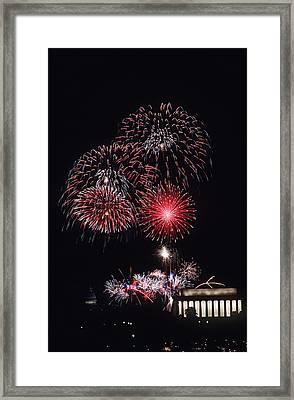 Fireworks Light Up The Night Sky Framed Print