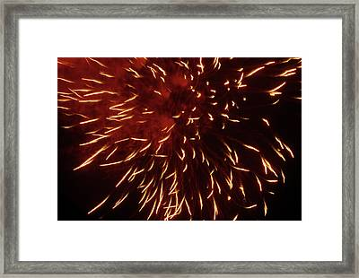 Fireworks Light Up The Sky While Celebrating Bastille Day Framed Print by Sami Sarkis