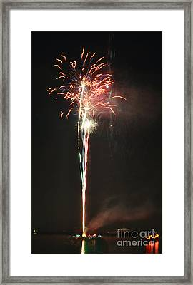 Fireworks On The Lake Framed Print