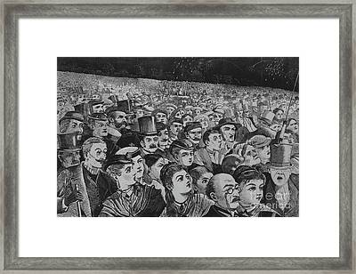 Fireworks On The Night Of The Fourth Of July  Framed Print by Winslow Homer