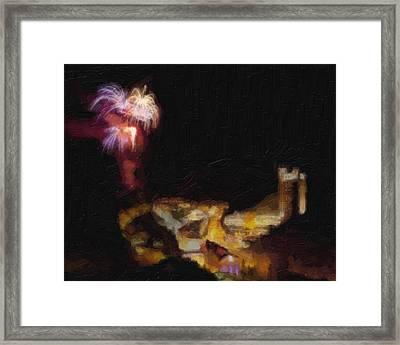 Fireworks Over Blackhawk Colorado Framed Print by David Renner