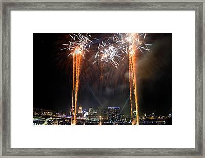 Fireworks Over Cincinnati Framed Print