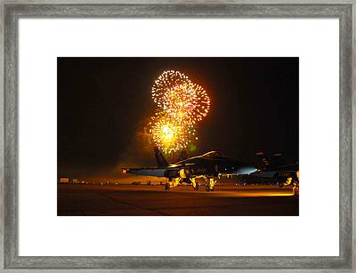 Fireworks Over Fa-18 Hornet Us Navy Framed Print by Celestial Images