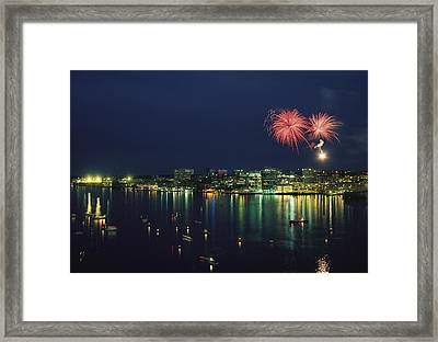 Fireworks Over Halifax Harbor Celebrate Framed Print