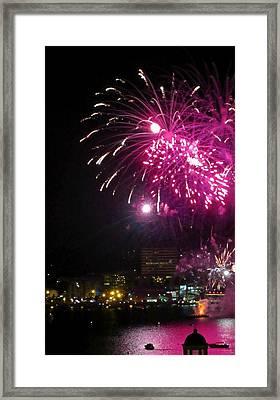 Fireworks Over Halifax Harbor Framed Print by Crystal Loppie