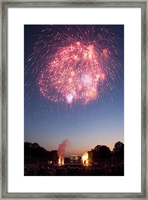 Fireworks Over Lincoln Framed Print by Colleen Joy