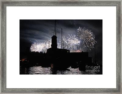 Fireworks Over Marseille's Vieux-port On July 14th Bastille Day Framed Print by Sami Sarkis