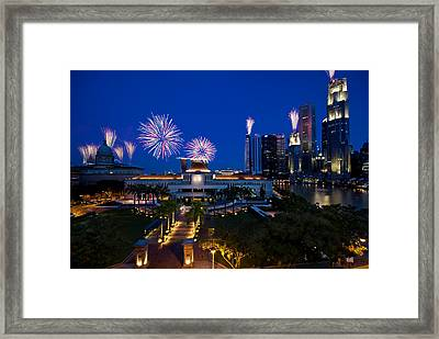 Fireworks Over Parliament Framed Print by Ng Hock How