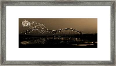 Fireworks Over The Mississippi Framed Print