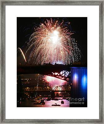 Fireworks Over The River Framed Print by Keith Dillon