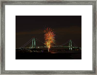 Fireworks Over The Verrazano Narrows Bridge Framed Print