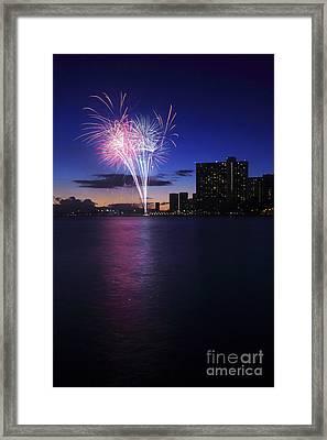 Fireworks Over Waikiki Framed Print by Brandon Tabiolo - Printscapes