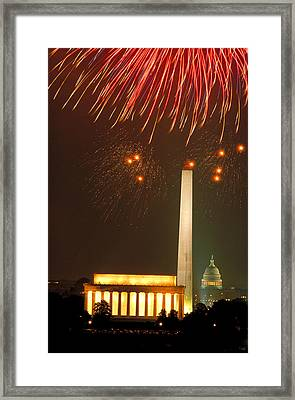 Fireworks Over Washington Dc Mall Framed Print by Carl Purcell