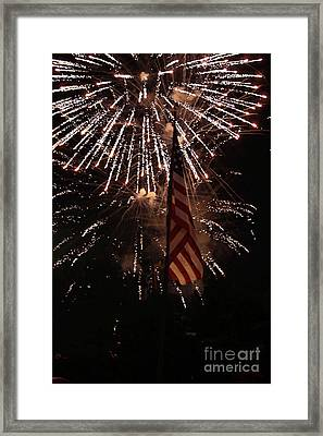 Fireworks With Flag Framed Print by Alan Look
